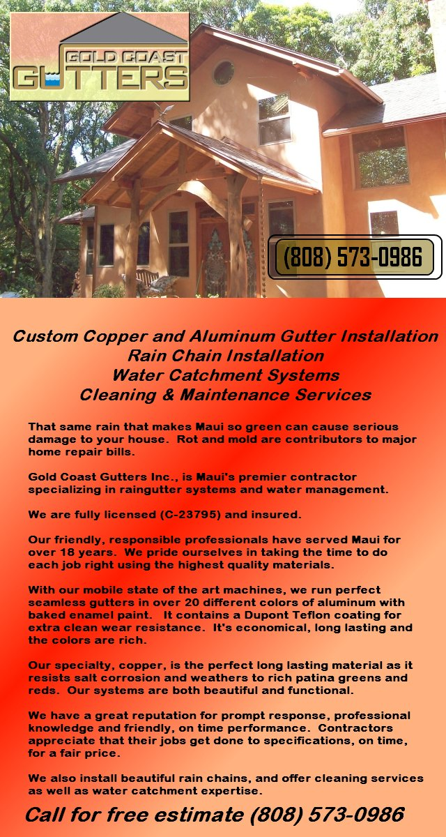 Copper and Aluminum Gutters and Downspouts, Rain Chains, Water Catchment, Cleaning and Maintenance Services